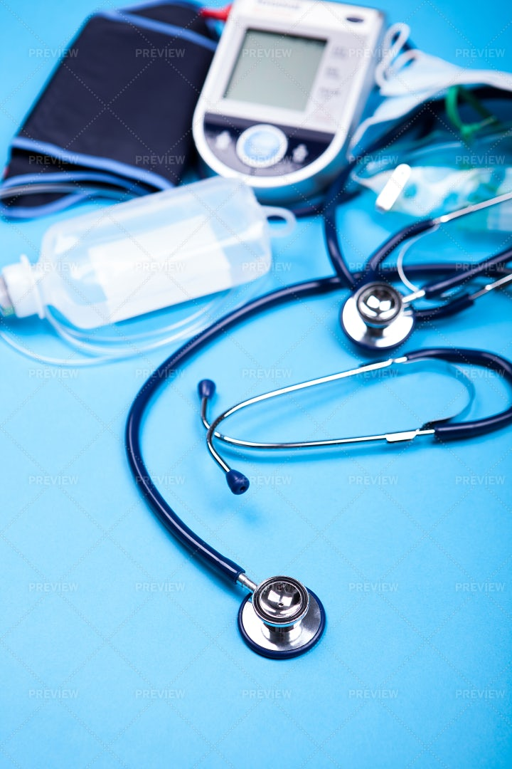 Medical Equipment With A Stethoscope: Stock Photos