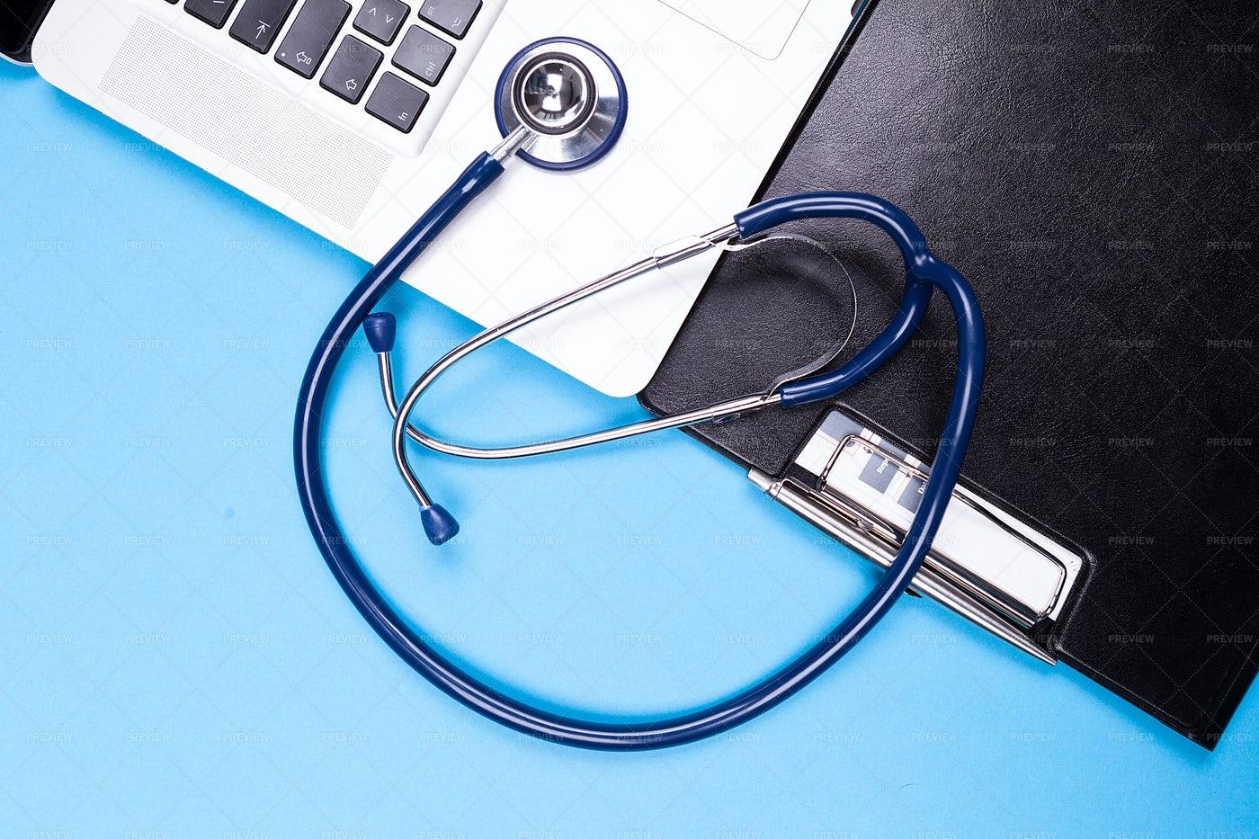 Stethoscope, Laptop And Folder: Stock Photos