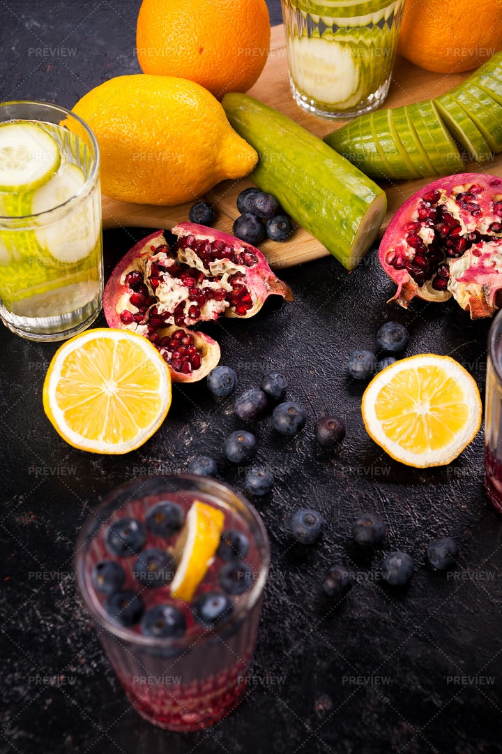 Detox Waters With Infused Flavors: Stock Photos