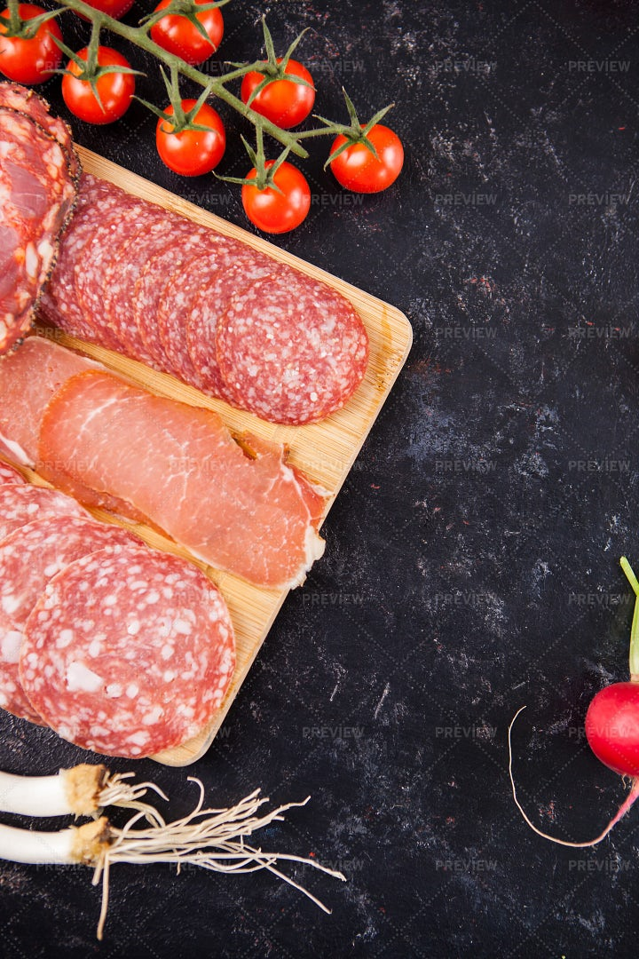Top View Of Meat Platter: Stock Photos