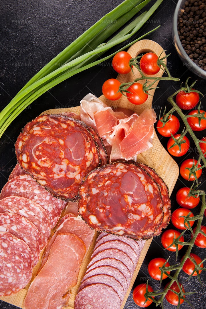 Smoked Meat Slices Platter: Stock Photos