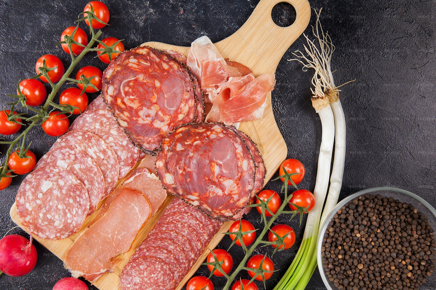 Meat Platter And Tomatoes: Stock Photos