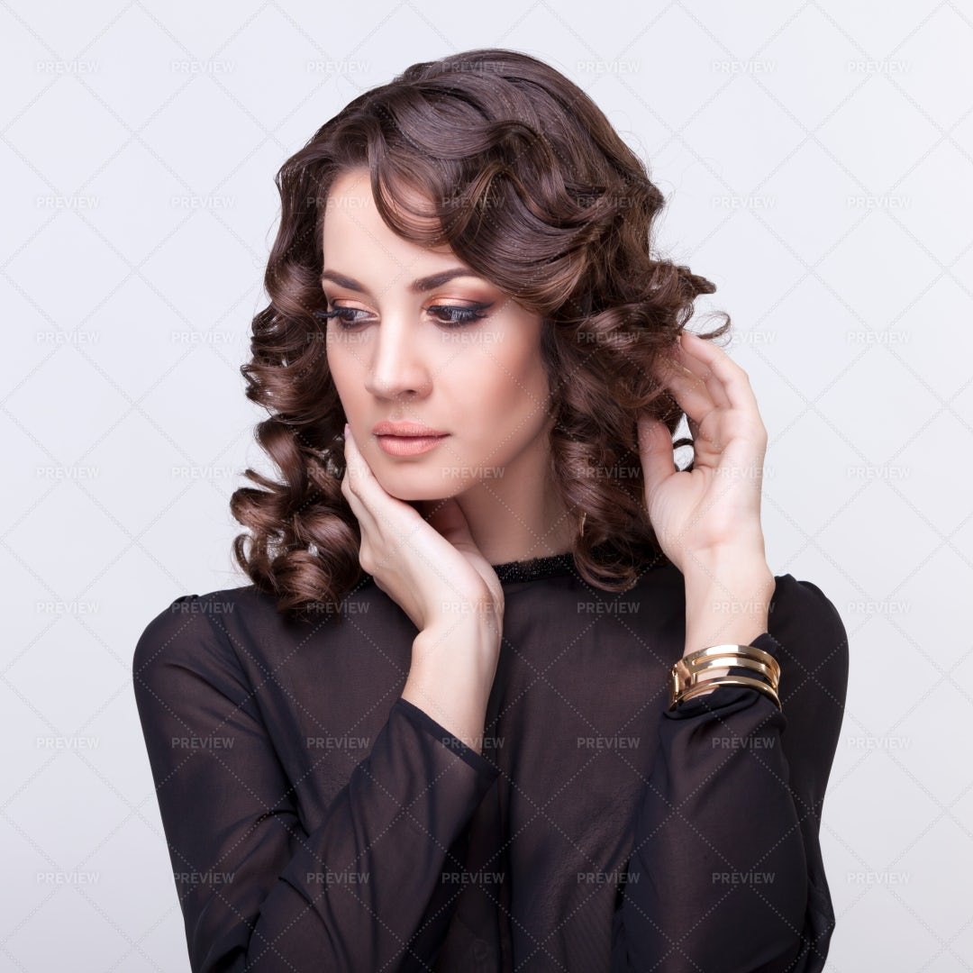 Woman With Curly Hairdo: Stock Photos