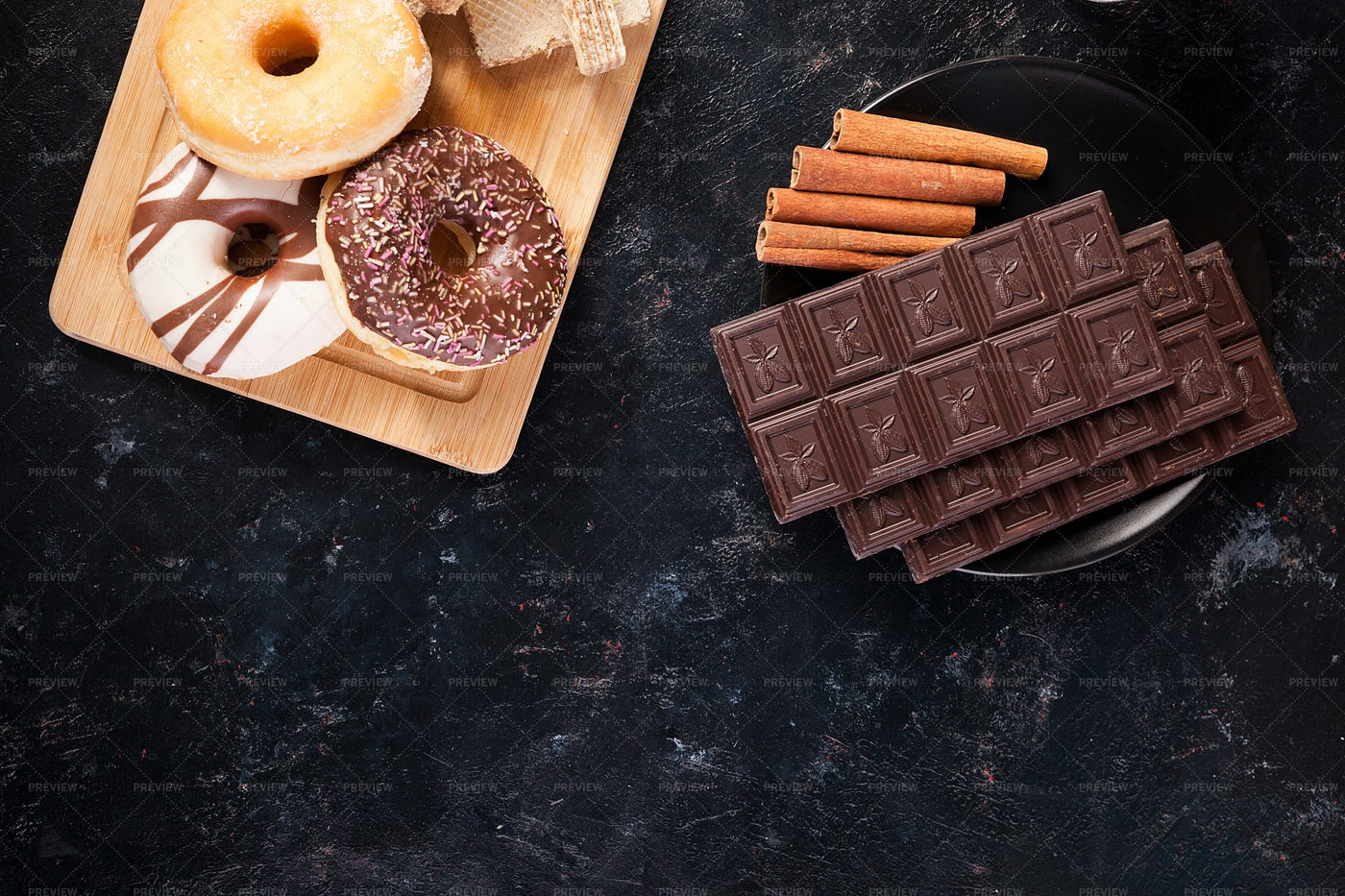 Top View Of Chocolate And Donuts: Stock Photos