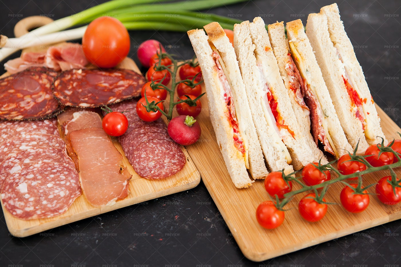Platters Of Meat And Sandwiches: Stock Photos