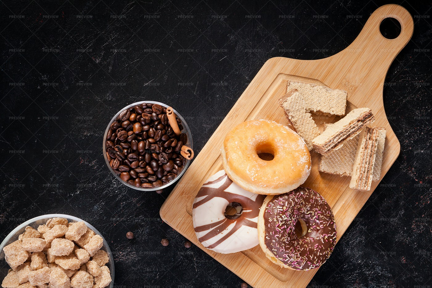 Sweets On Wooden Board: Stock Photos