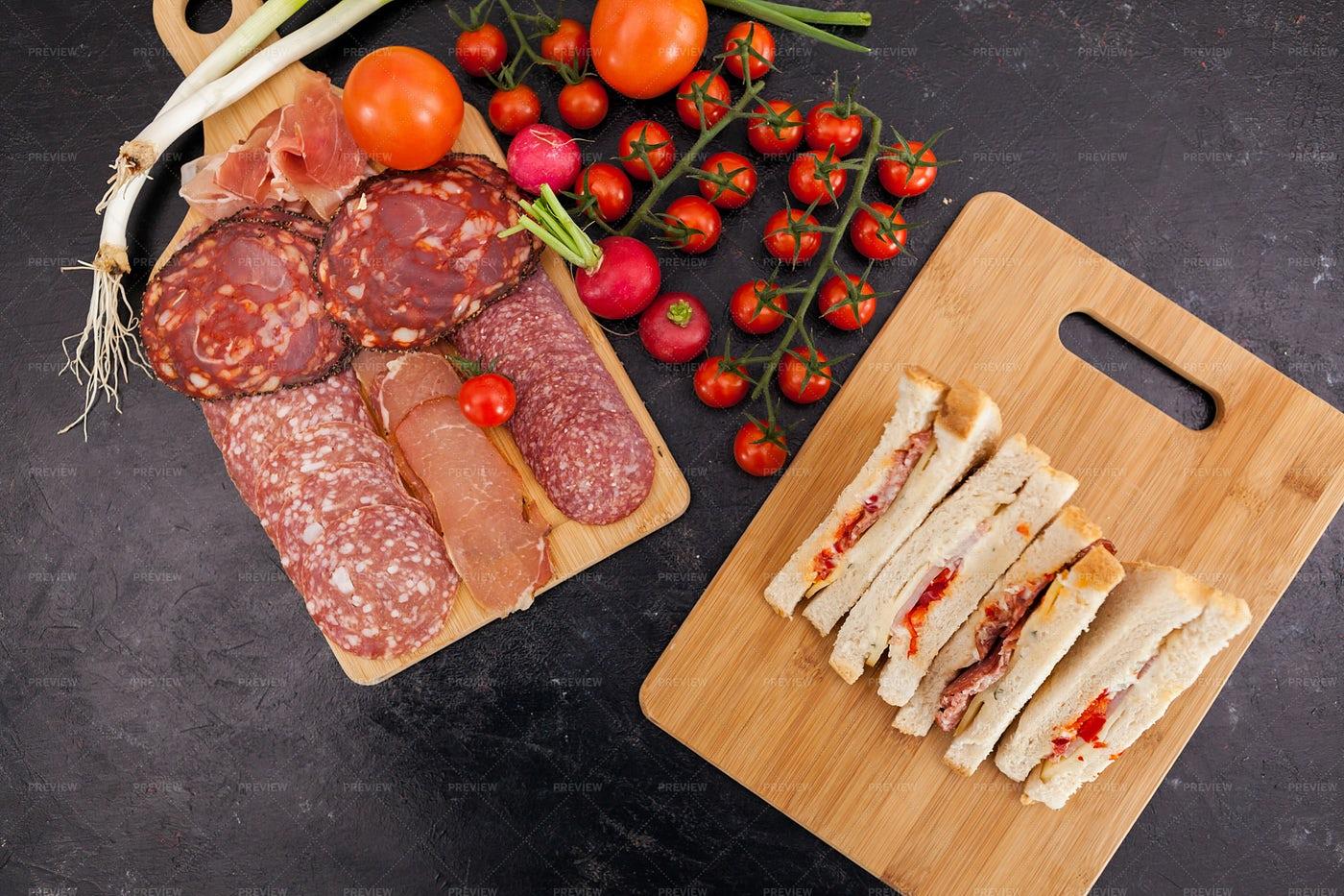 Antipasto Platter And Sandwiches: Stock Photos