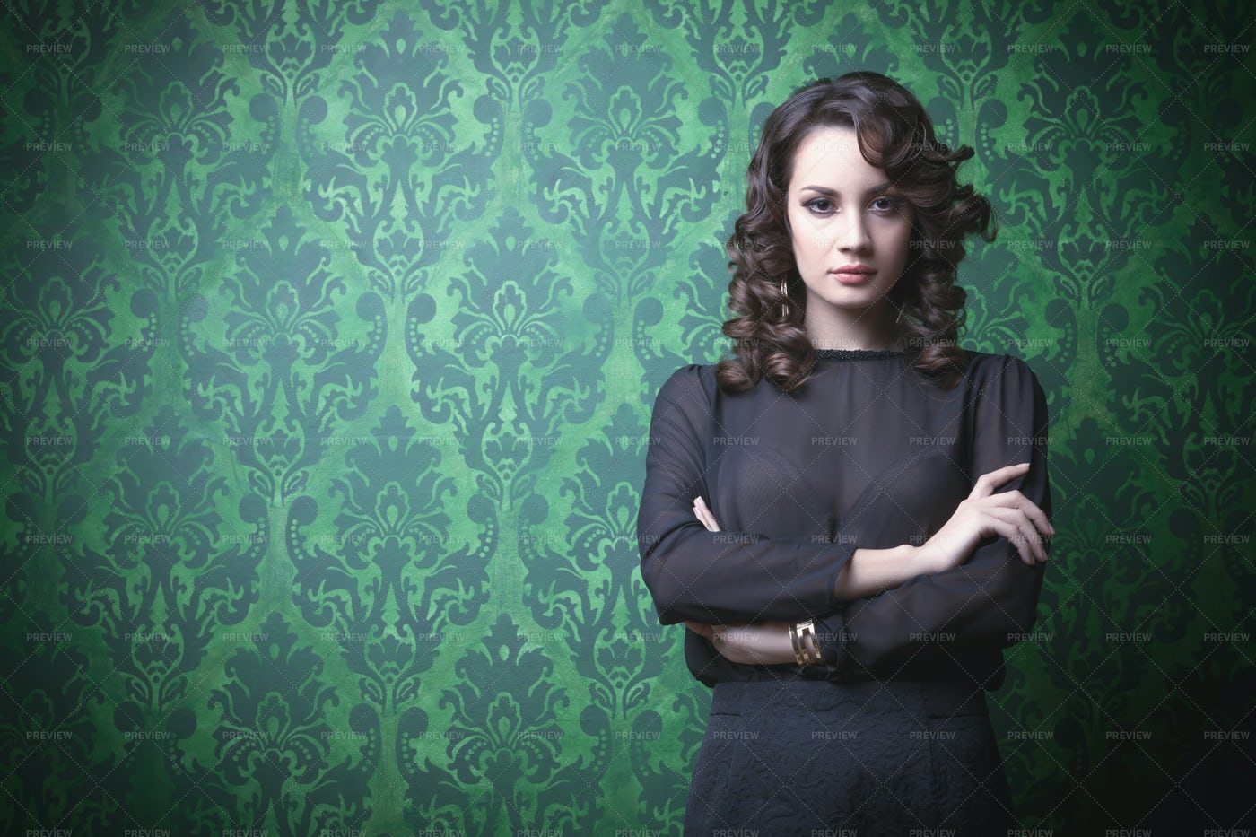 Beautiful Woman In Green Vintage Room: Stock Photos