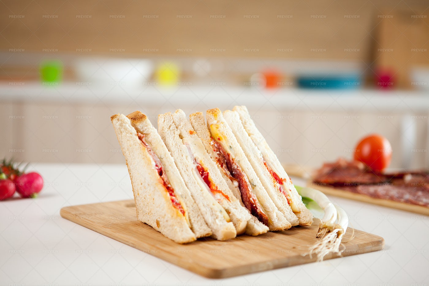 White Bread Club Sandwich: Stock Photos