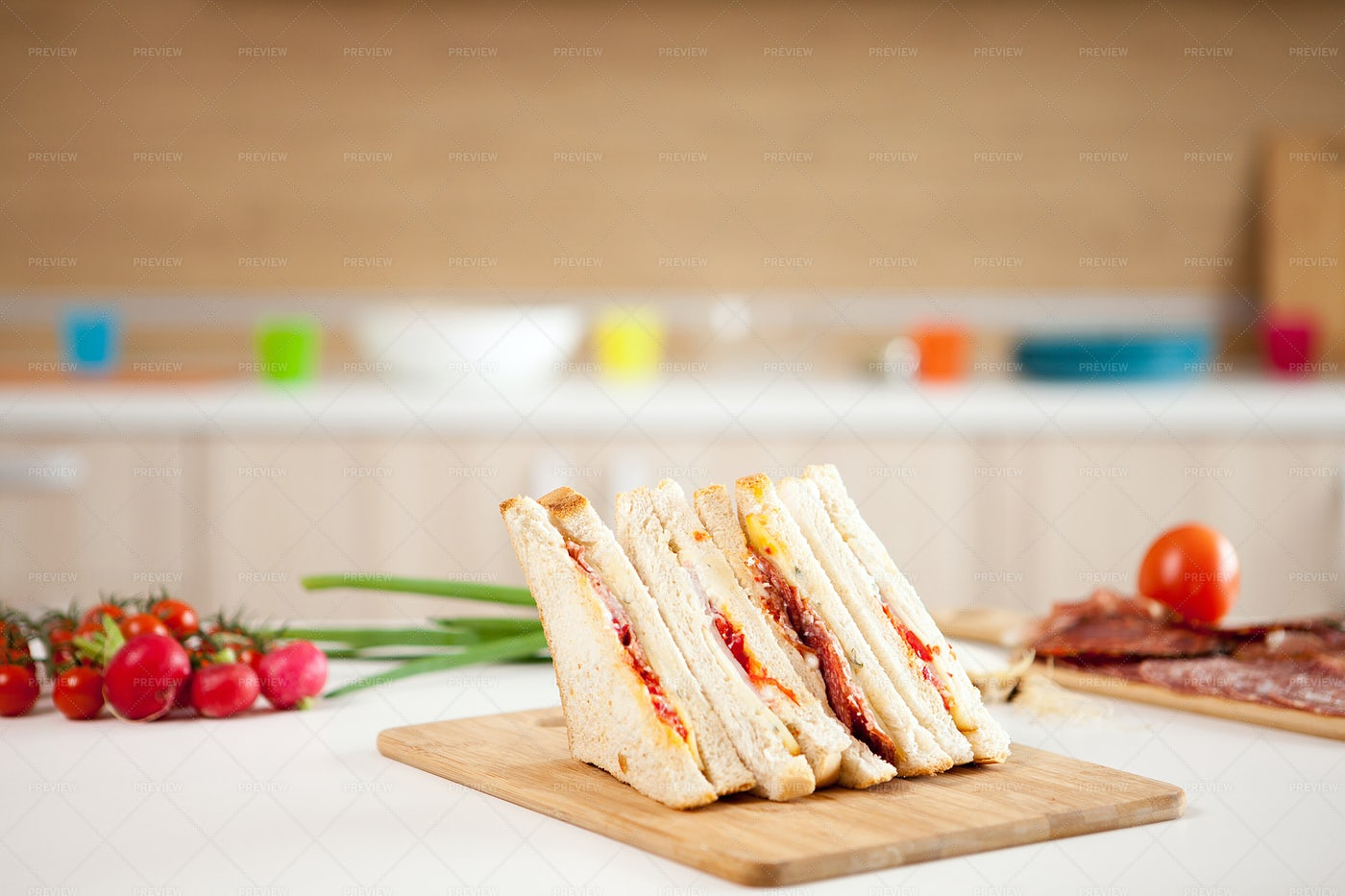 Fresh Sandwiches On Wooden Board: Stock Photos