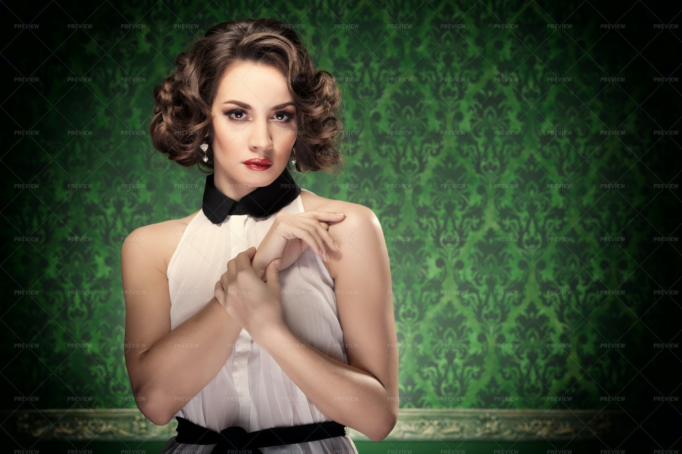 Woman In Vintage Inspired Look: Stock Photos