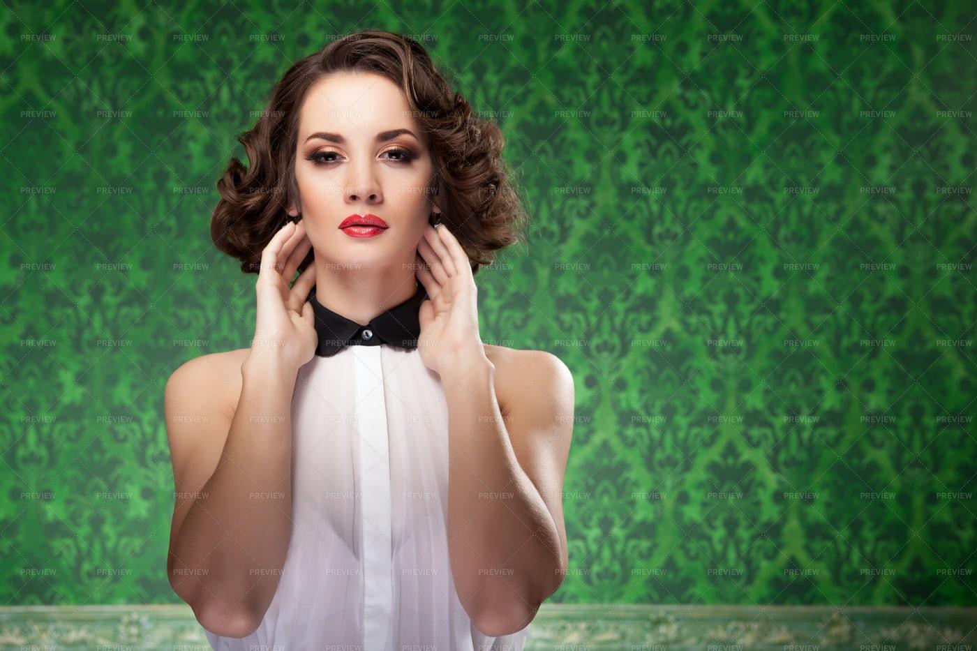 Woman In Brocade Room: Stock Photos