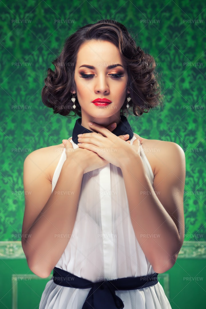 Retro Style Woman In Vintage Green Room: Stock Photos