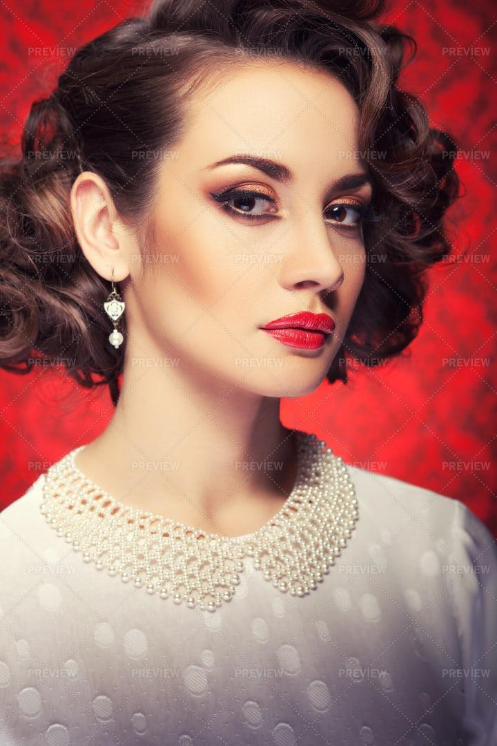 Red Lips Portrait: Stock Photos