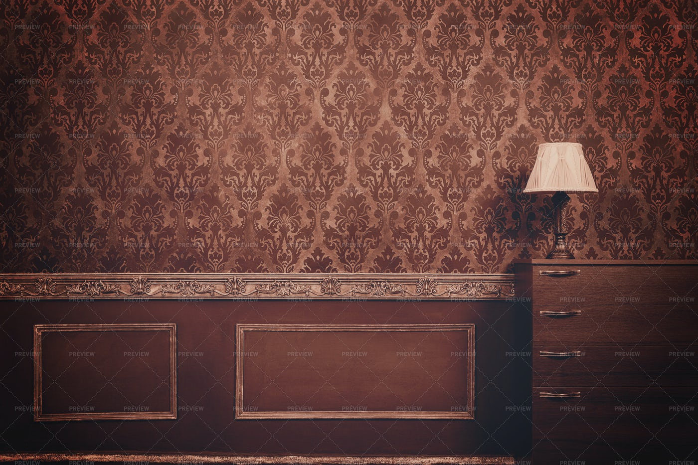Wall In Vintage Room: Stock Photos