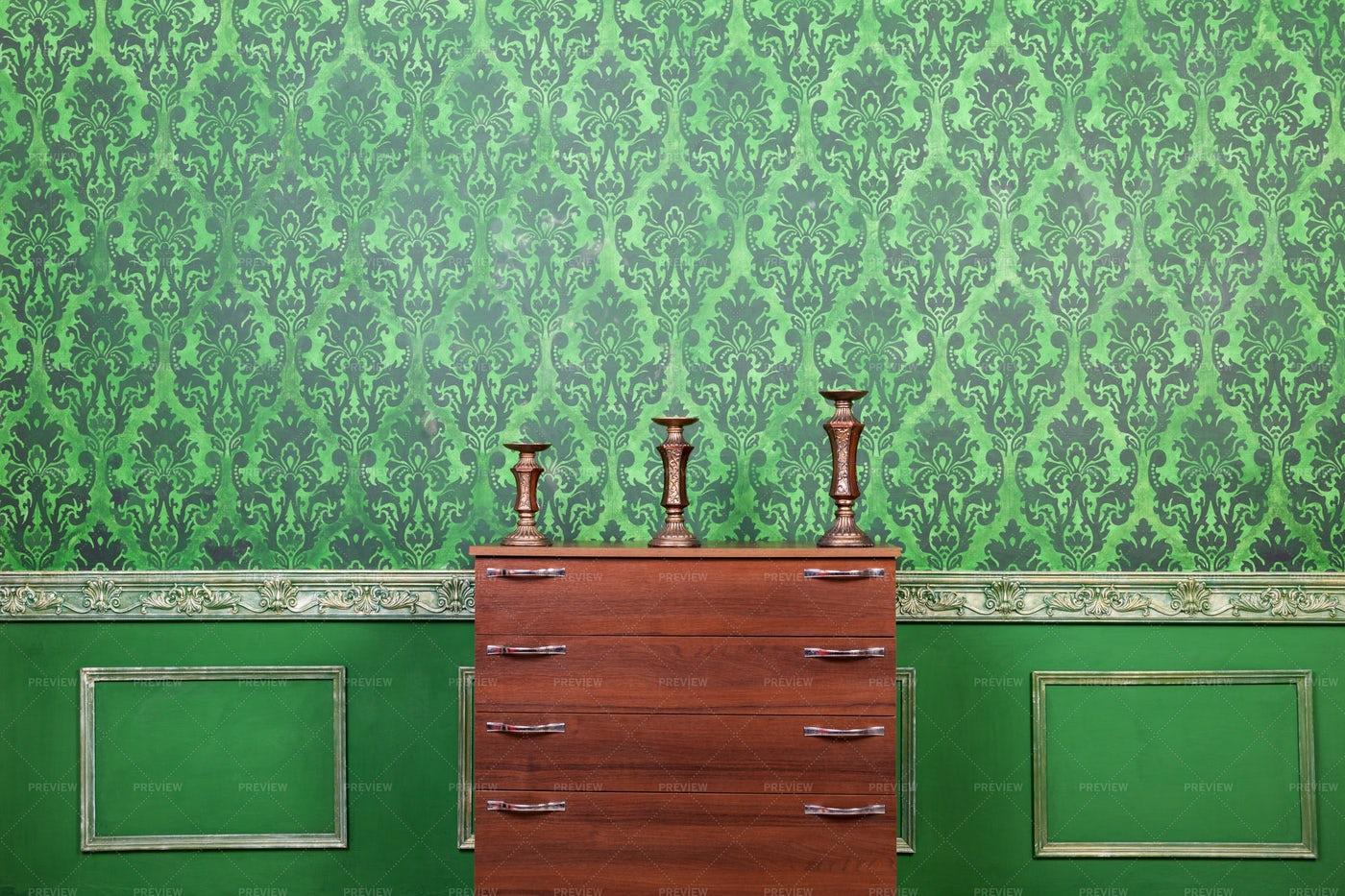 Green Pattern Vintage Interior: Stock Photos