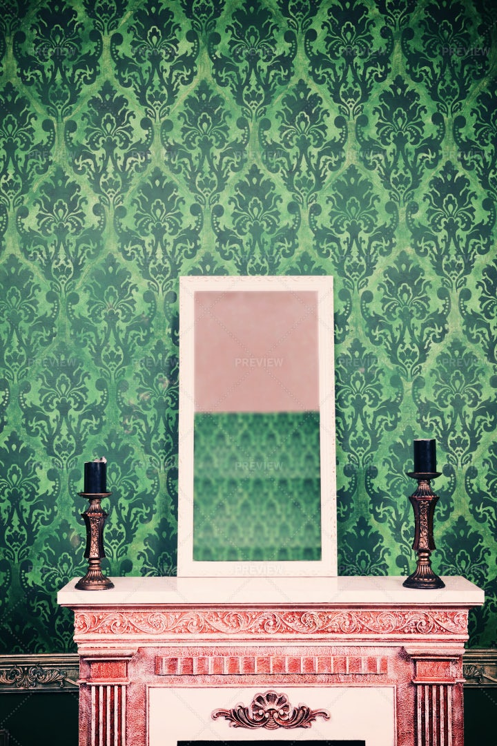 Mirror On Chimney In Green Room: Stock Photos