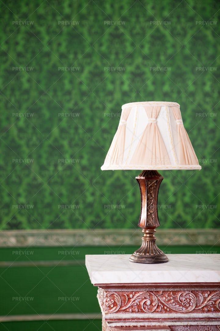Vintage Lamp On Retro Background: Stock Photos