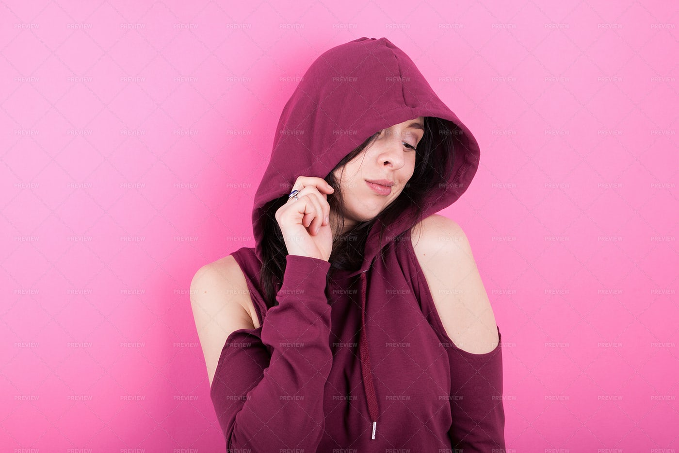 Confident Woman With Pink Hoodie: Stock Photos