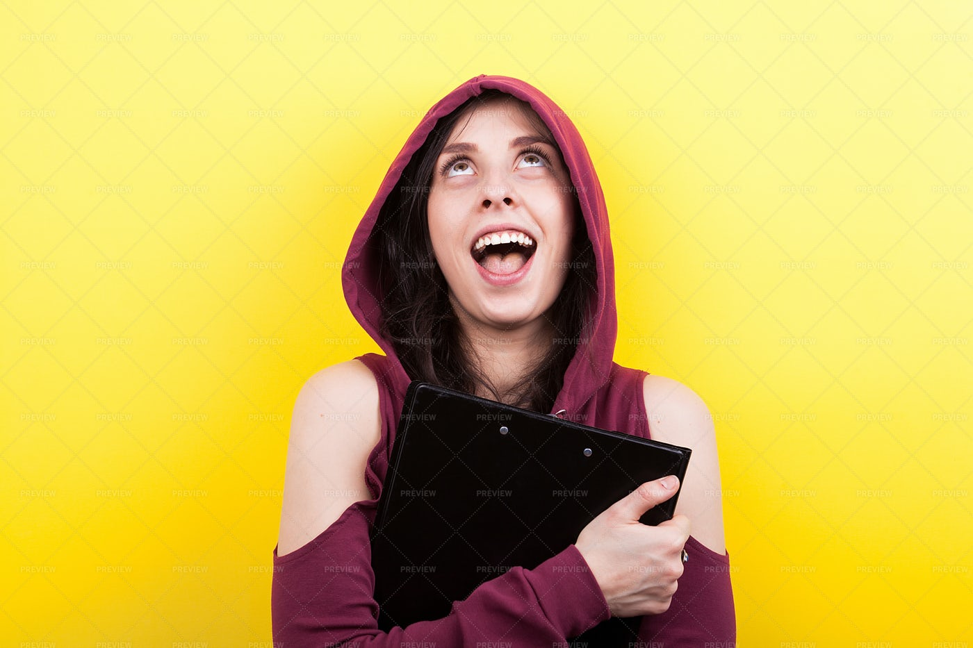 Woman Laughing And Looking Up: Stock Photos