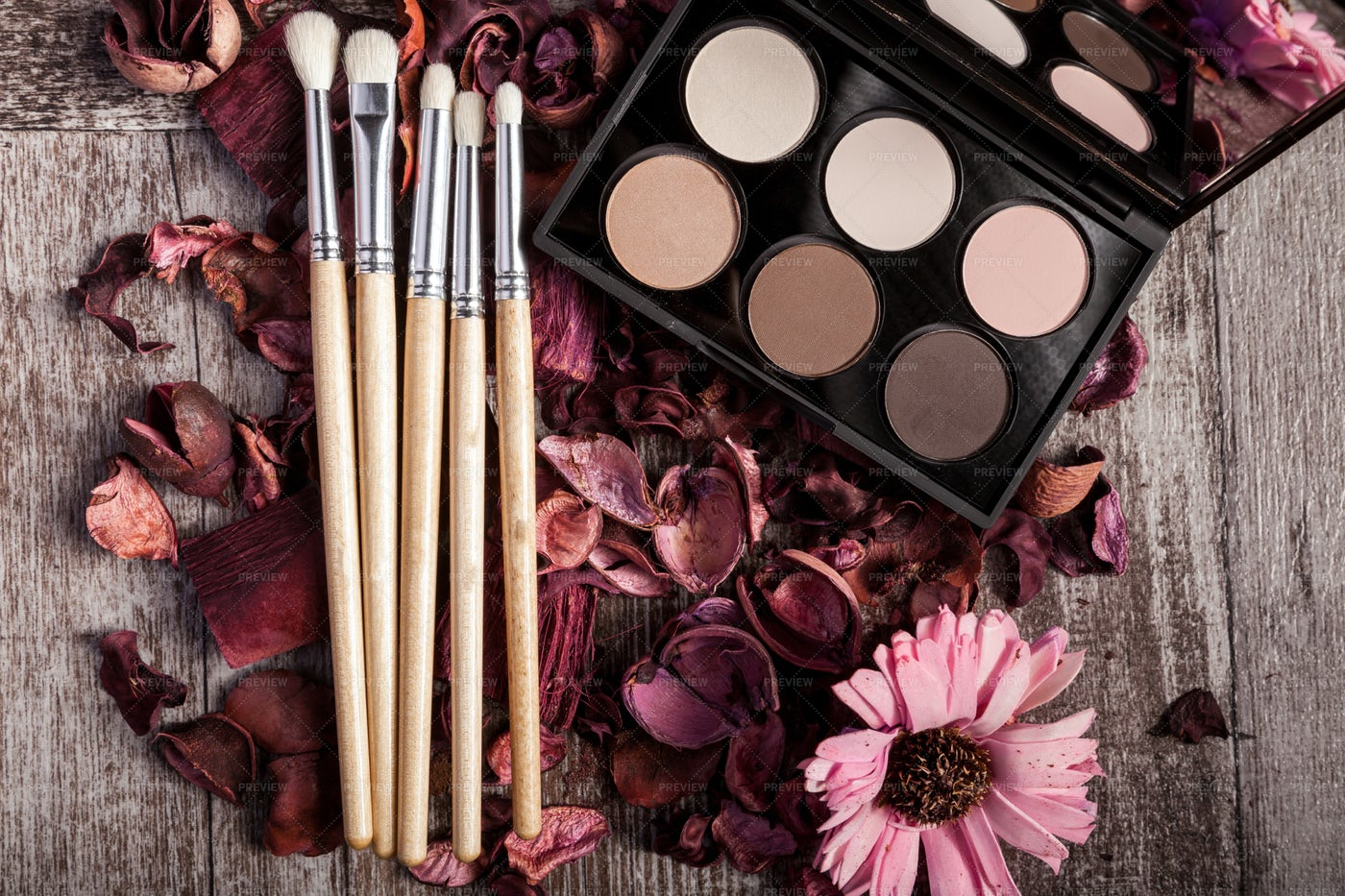 Eyeshadow And Makeup Brushes: Stock Photos