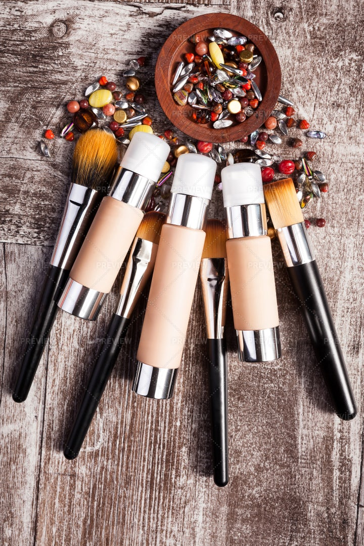 Cosmetics Products, Brushes And Stones: Stock Photos