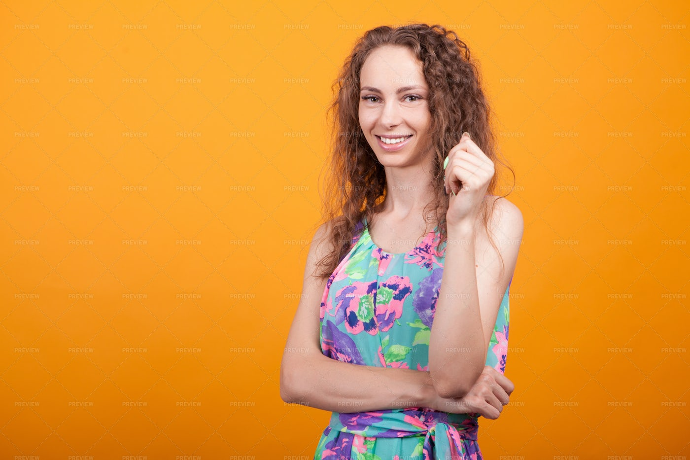 Woman With Curly Hair: Stock Photos