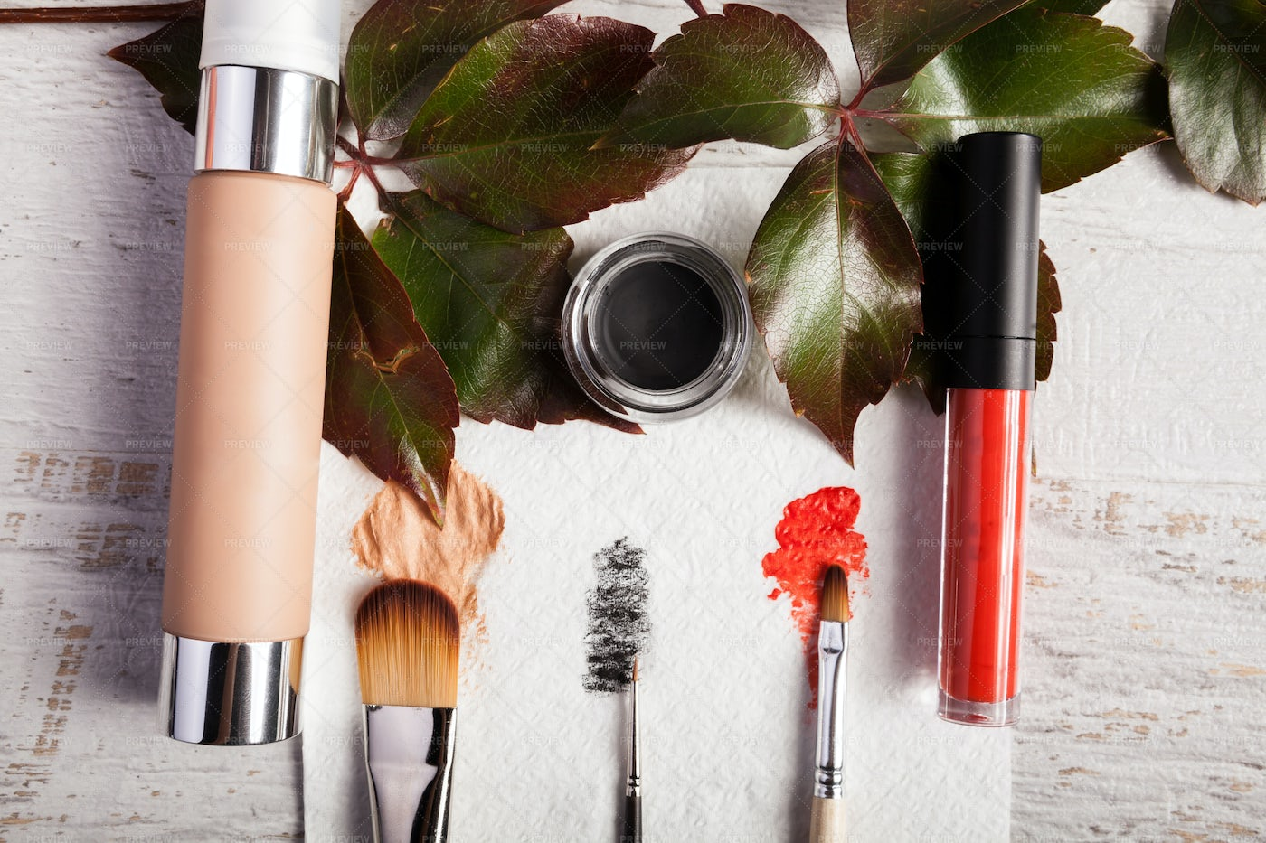 Brushes, Makeup And Plants: Stock Photos