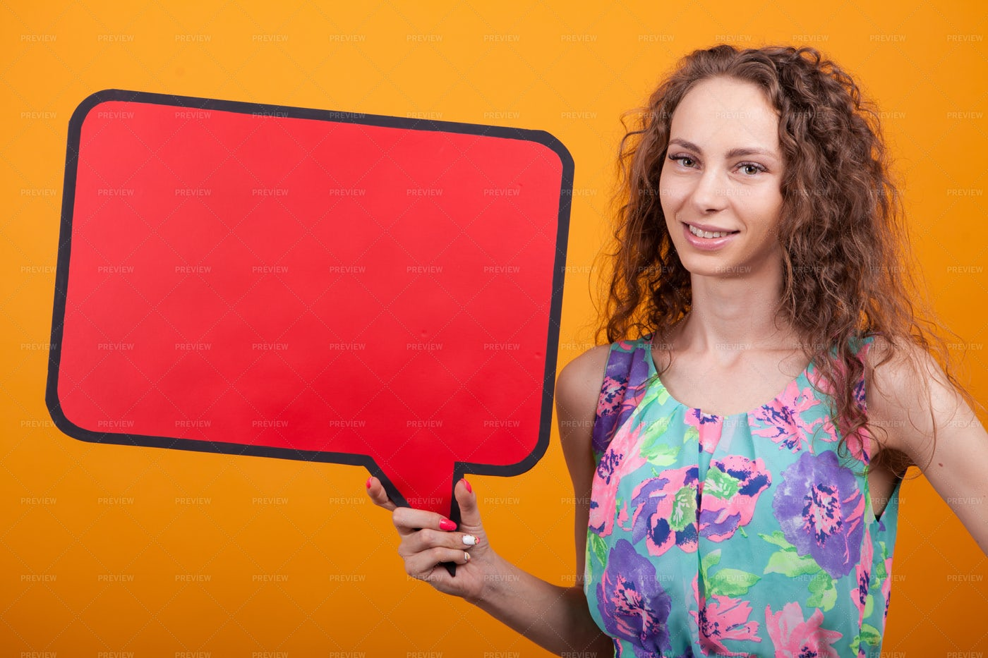 Smiling Woman Holding An Empty Banner: Stock Photos