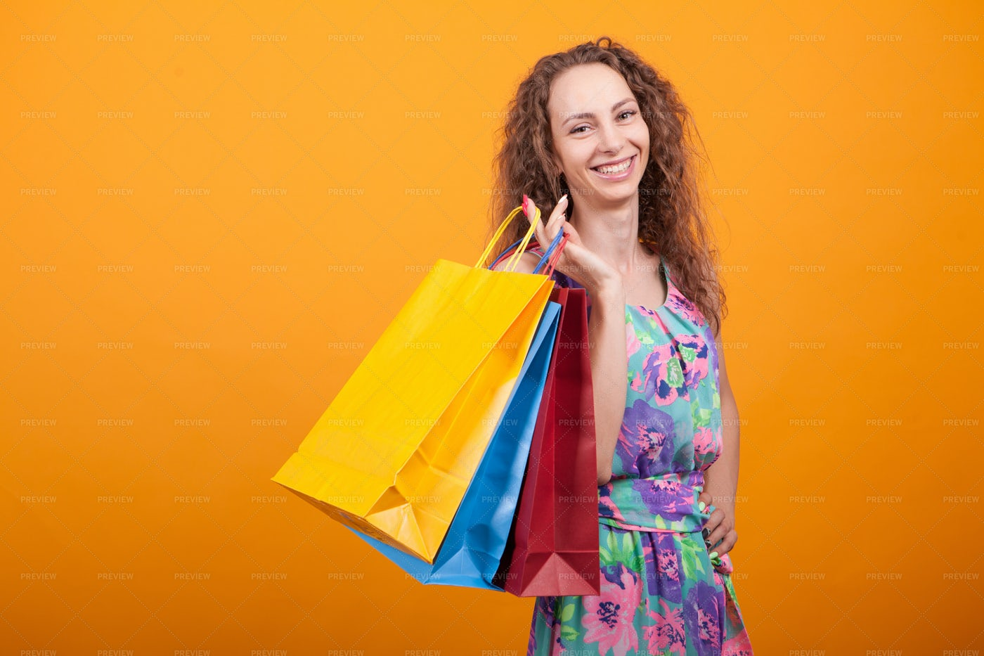 Woman With Gift Bags: Stock Photos