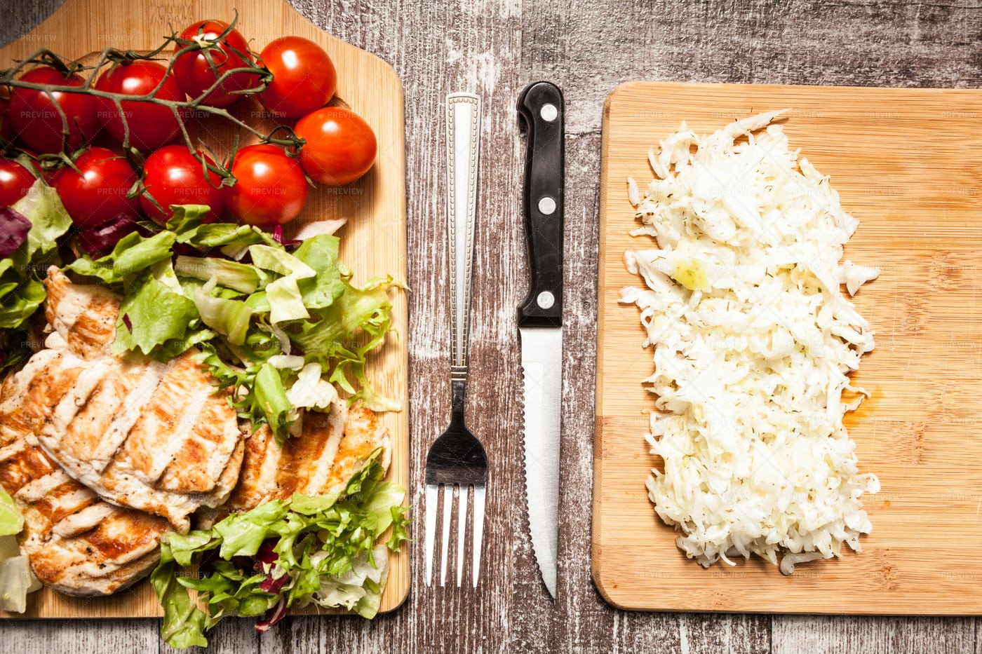 Chicken Salad And Cabbage: Stock Photos