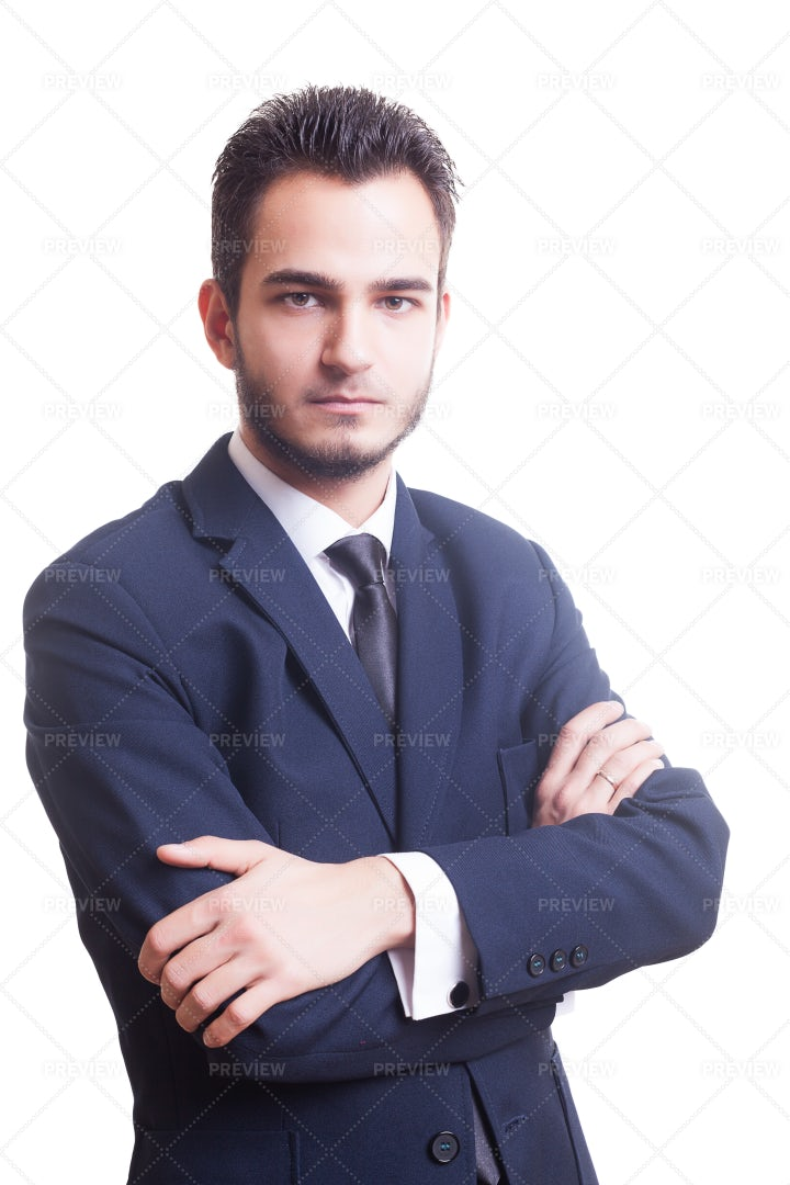 Businessman In Suit With Arms Crossed: Stock Photos