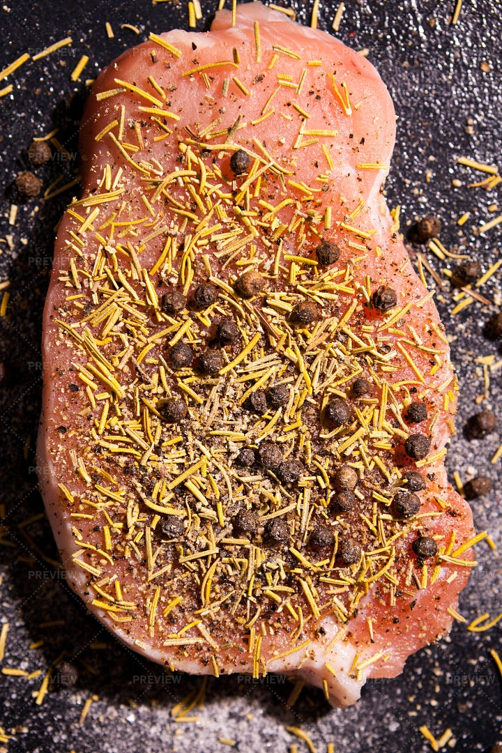 Raw Steak Meat And Spices: Stock Photos