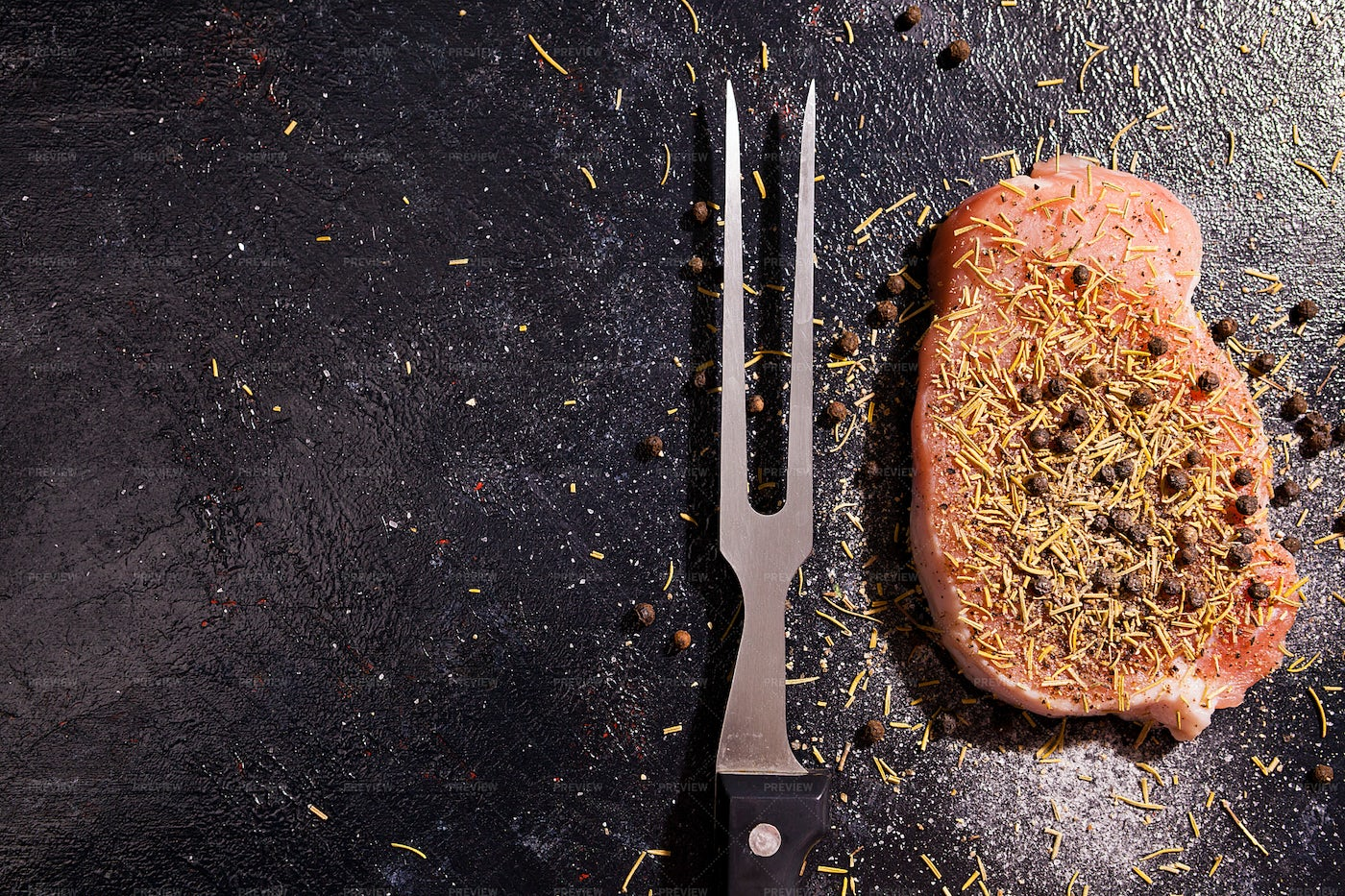 Meat Fork And Raw Meat: Stock Photos