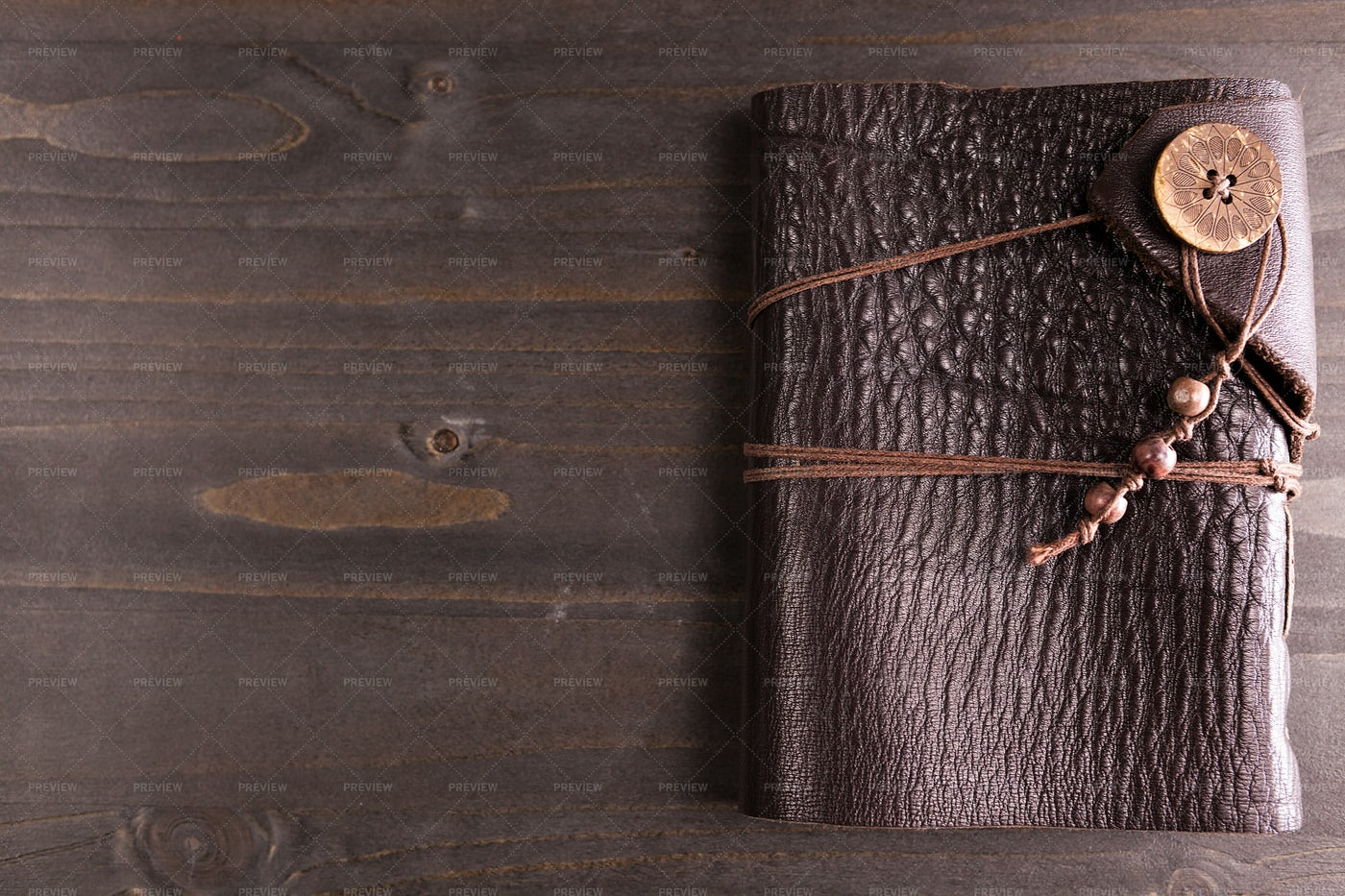 Notebook With Leather Cover: Stock Photos