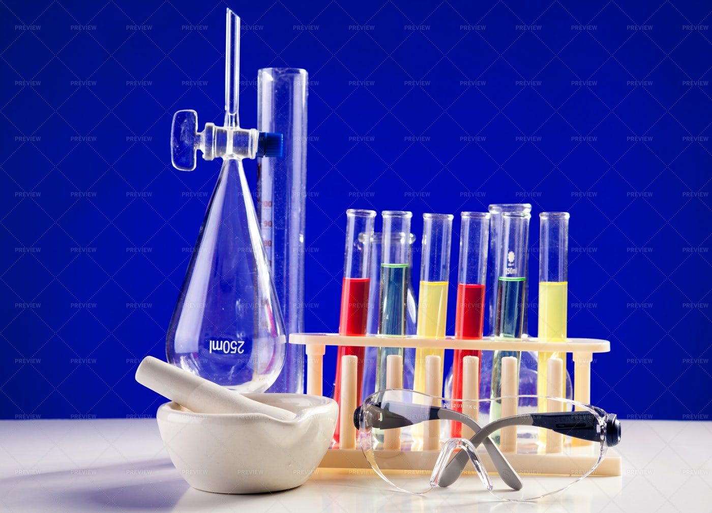 Chemistry Lab Set On A Table With: Stock Photos