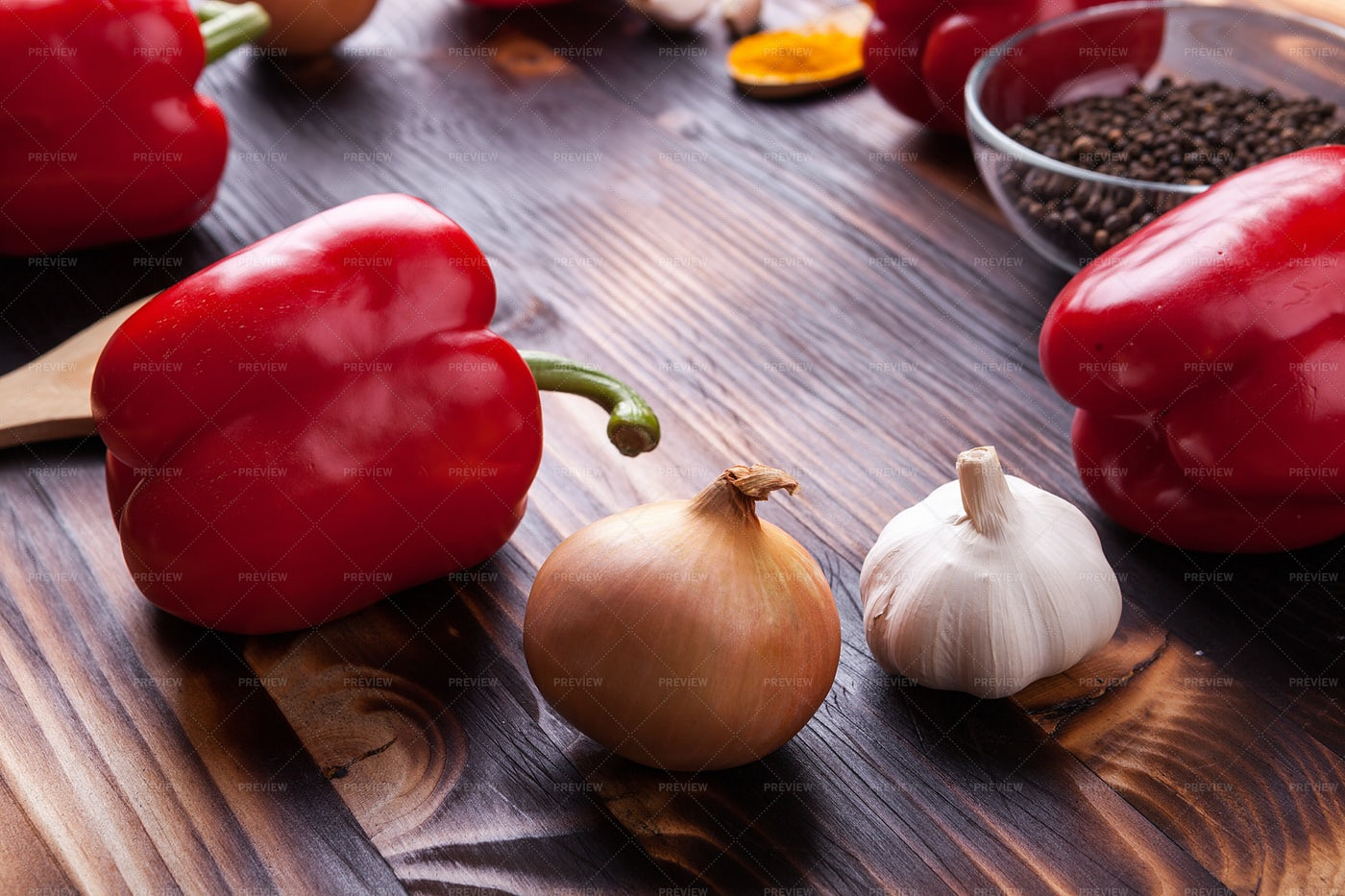 Onions, Peppers, Garlic: Stock Photos