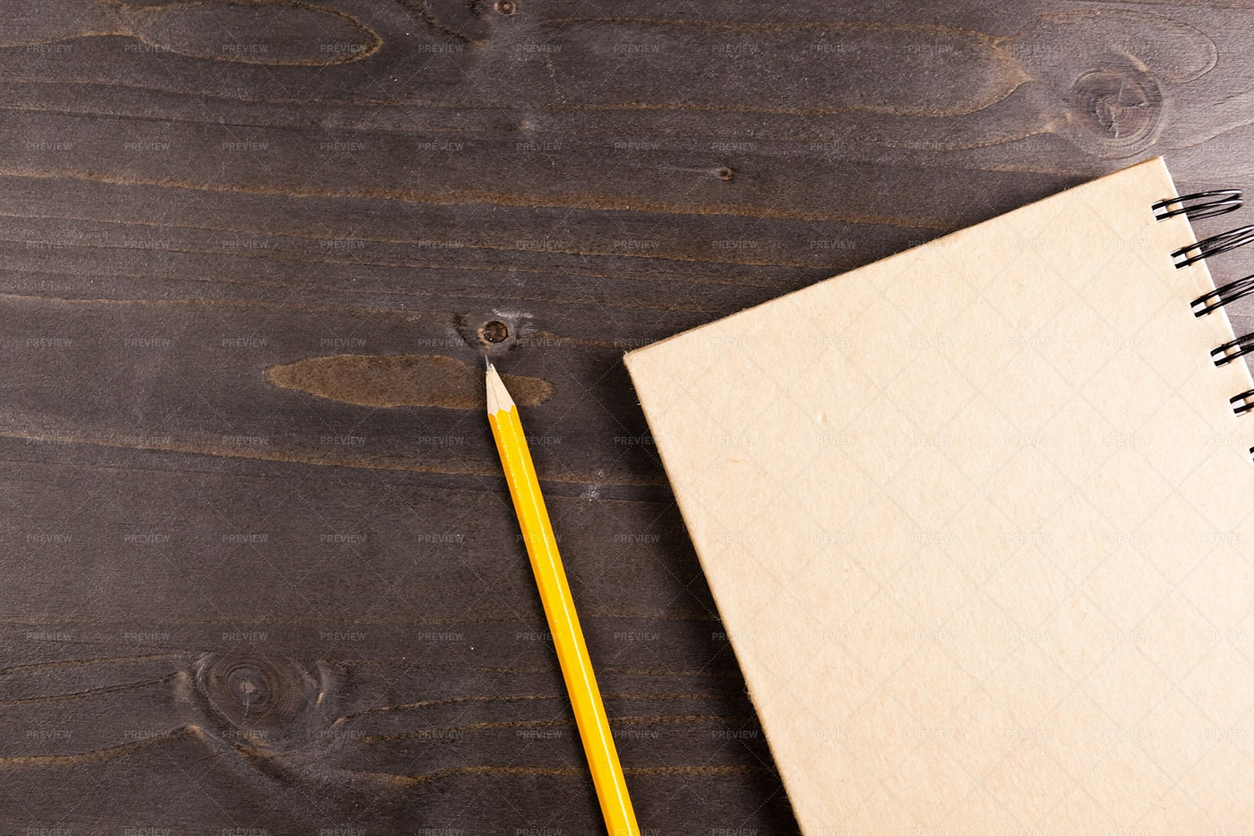 Top View Of A Notebook And A Pencil: Stock Photos