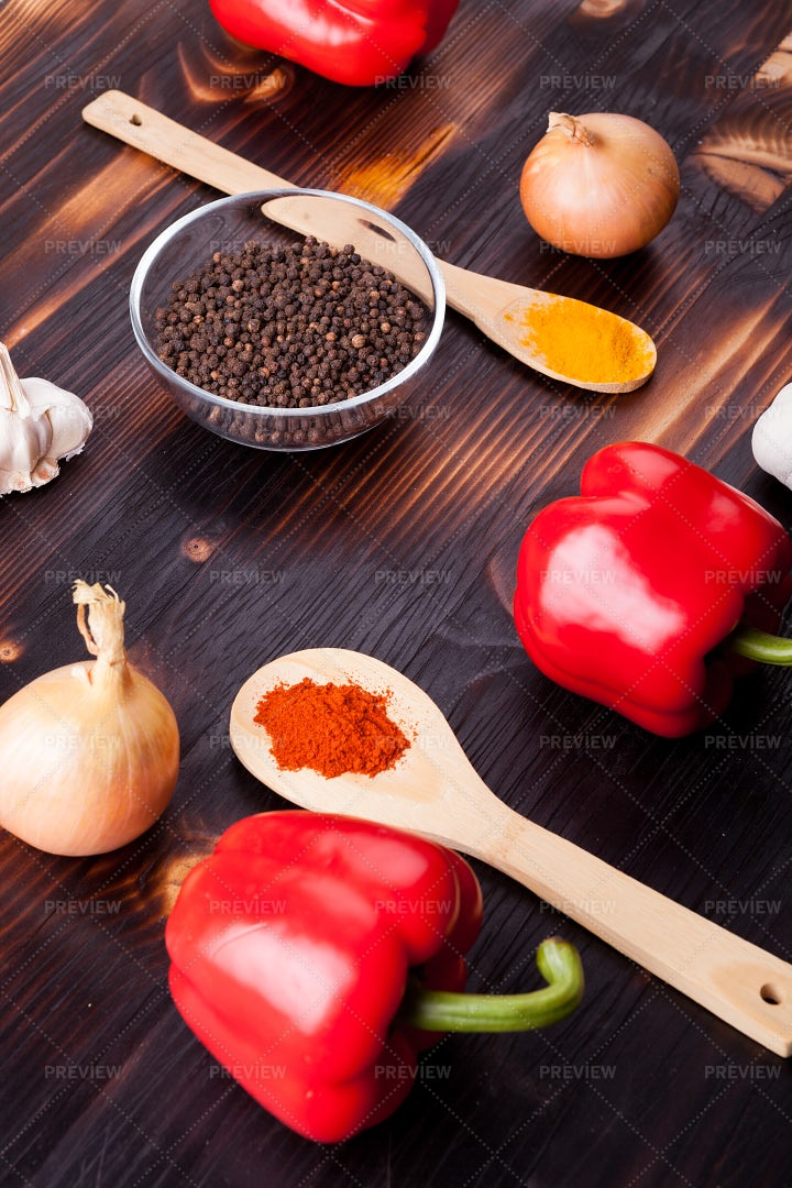 Black Pepper, Spices And Vegetables: Stock Photos