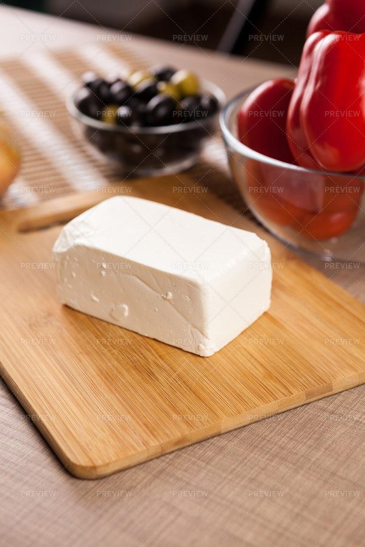 Feta Cheese On Wooden Board: Stock Photos