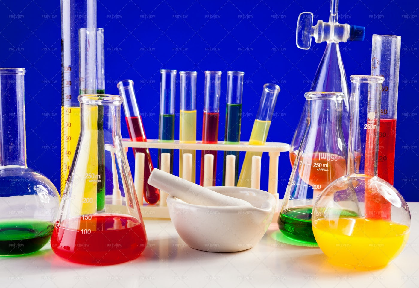 Lab Set For Chemistry With Colored: Stock Photos
