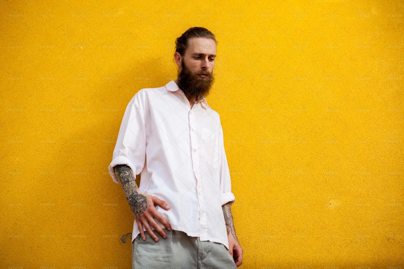 Hipster Man On Yellow: Stock Photos