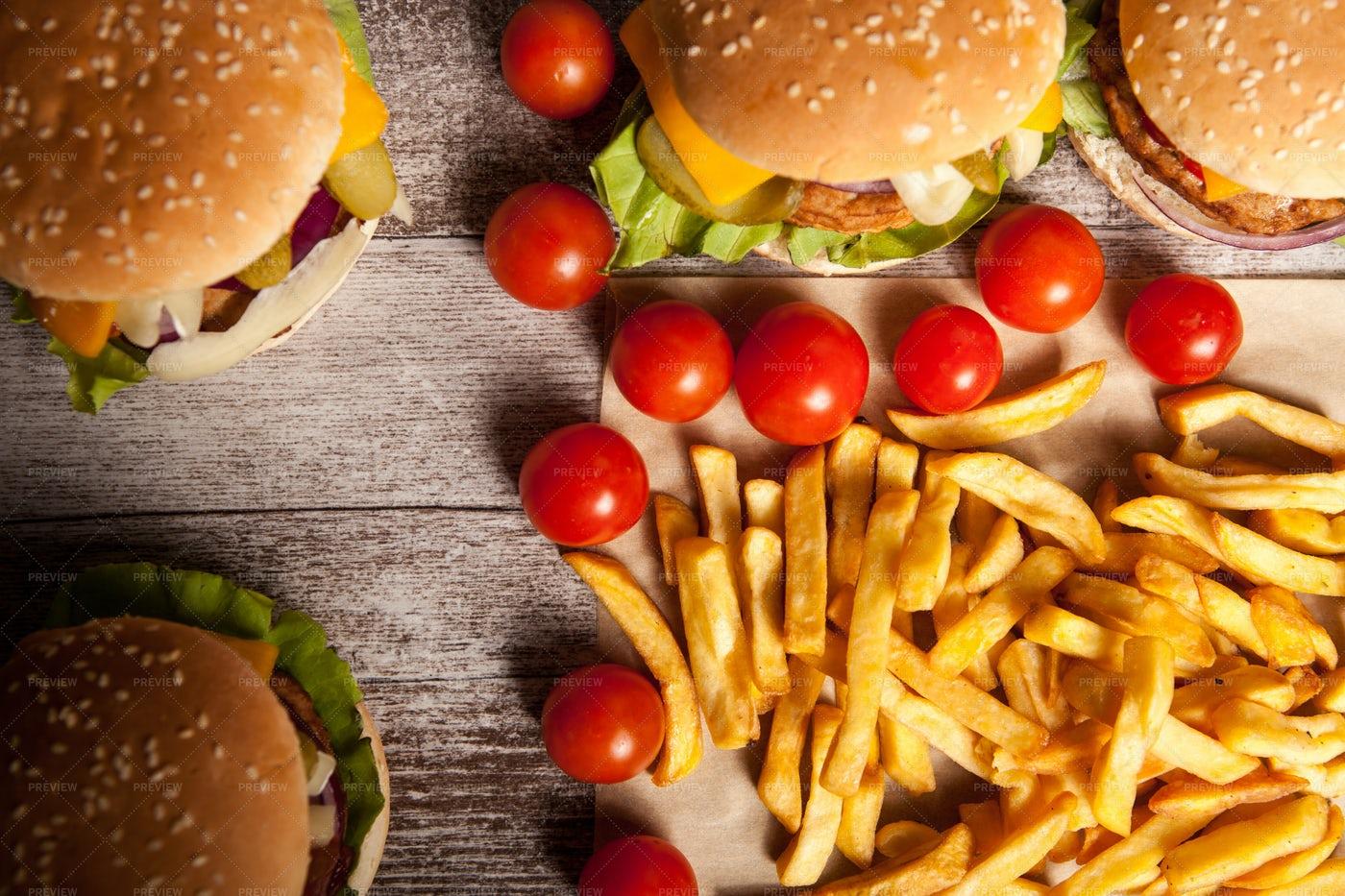 Burgers And Fries: Stock Photos