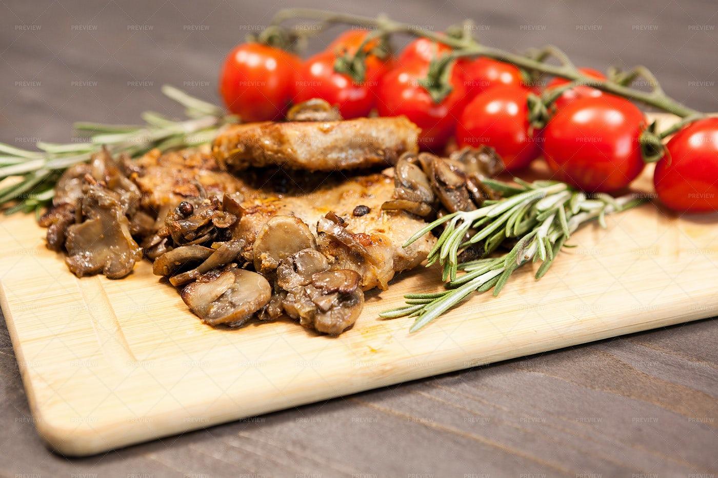 Pork And Mushroom Platter: Stock Photos