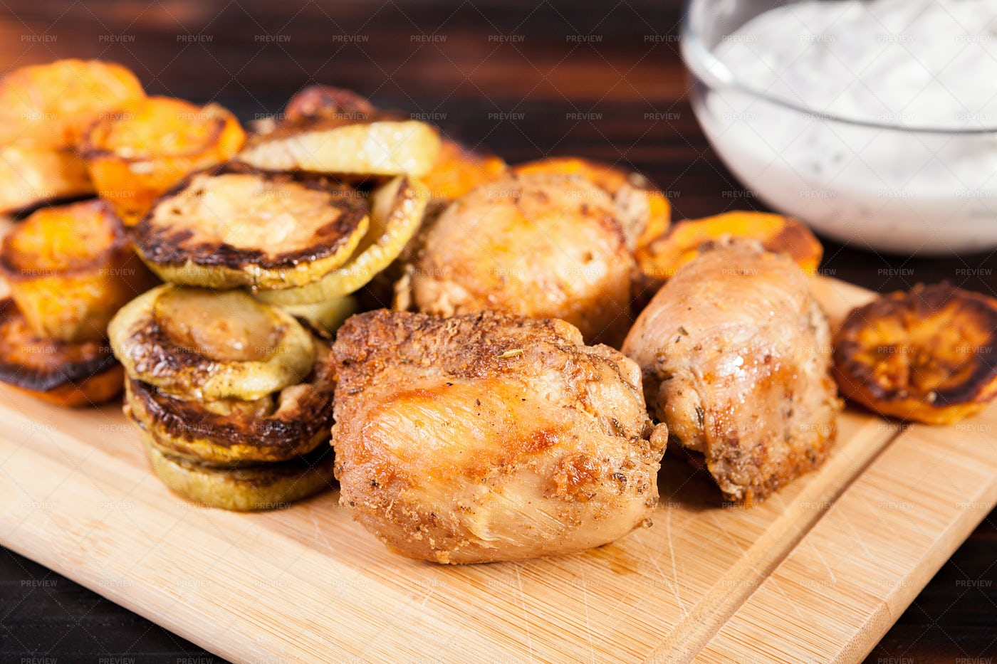 Chicken And Fried Veggies: Stock Photos