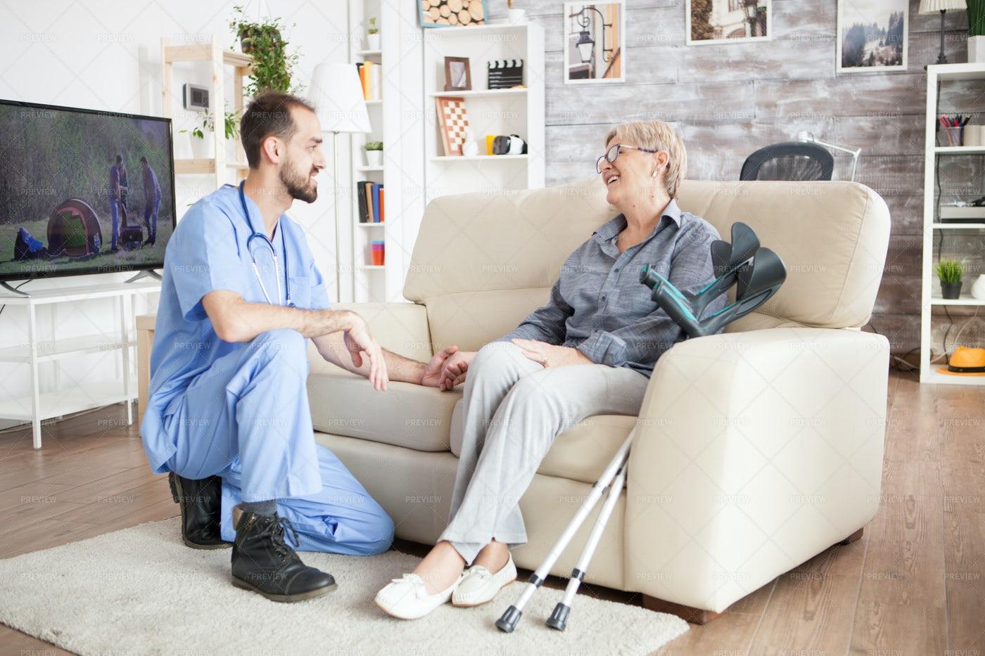 Joyful Old Woman In A Nursing Home: Stock Photos