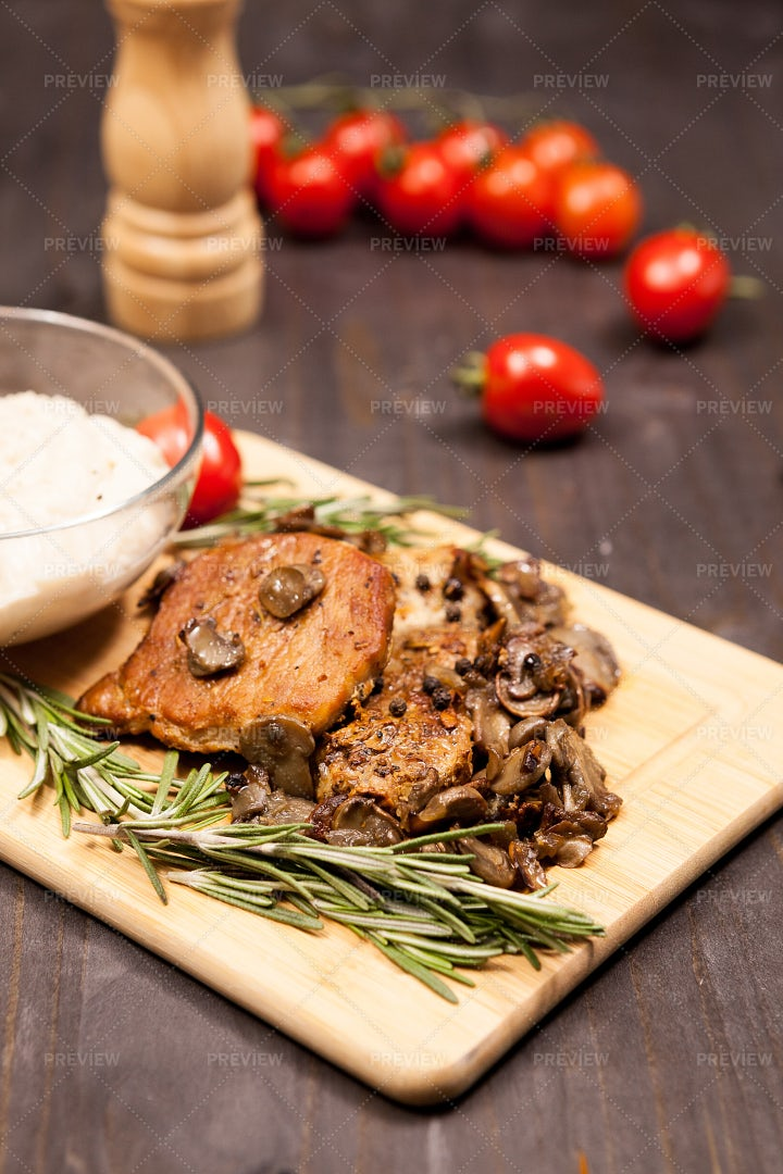 Grilled Pork And Mushrooms: Stock Photos