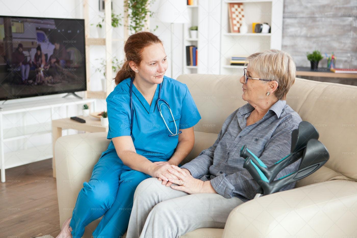 Nurse Visits With Elderly Woman: Stock Photos