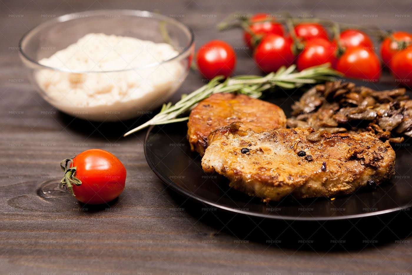 Pork Steak And Mushrooms With Dip: Stock Photos