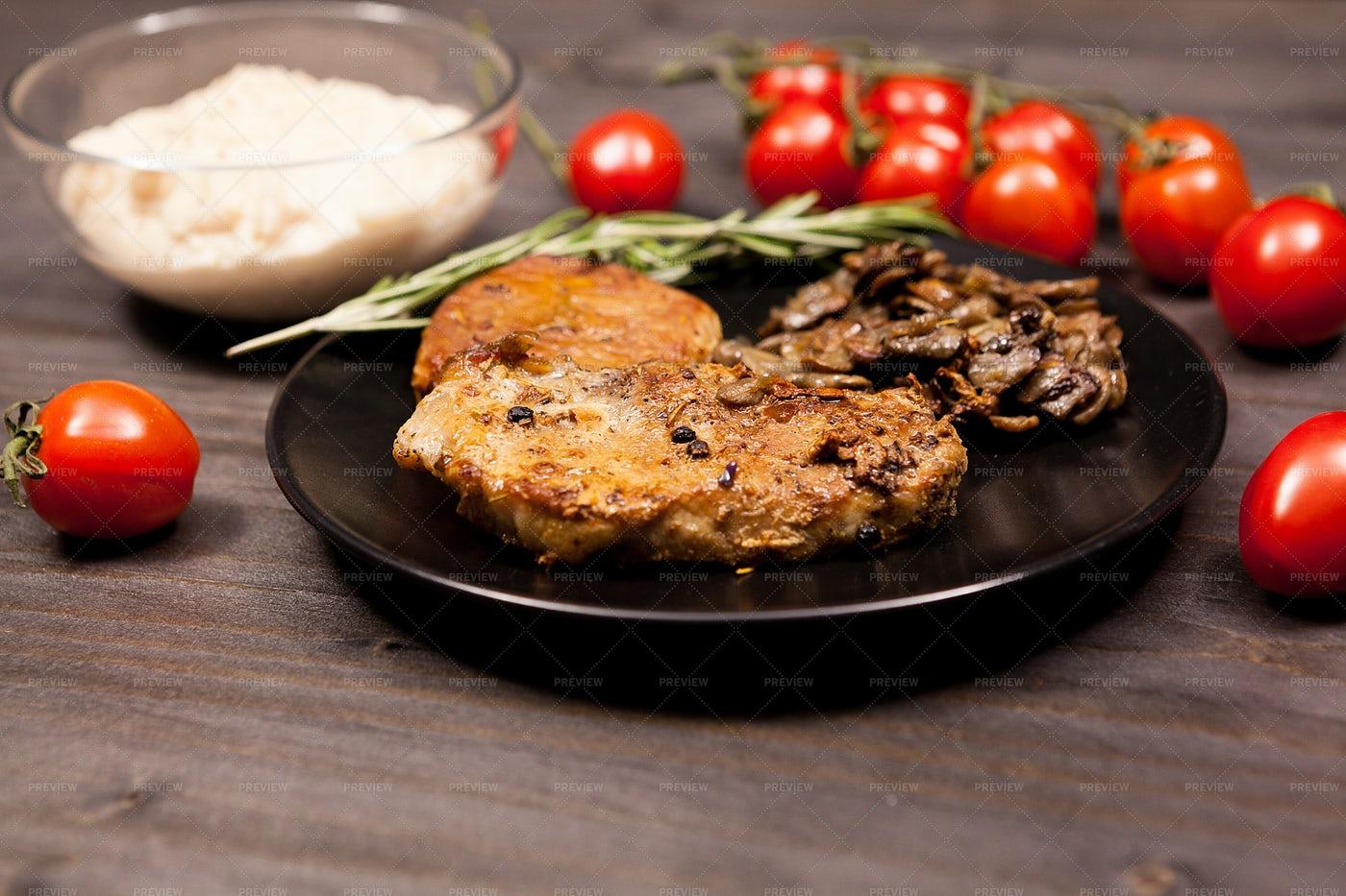 Mushroom And Pork Dinner: Stock Photos